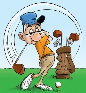 Illustration by Cedric Hohnstdt of a retired golfer.